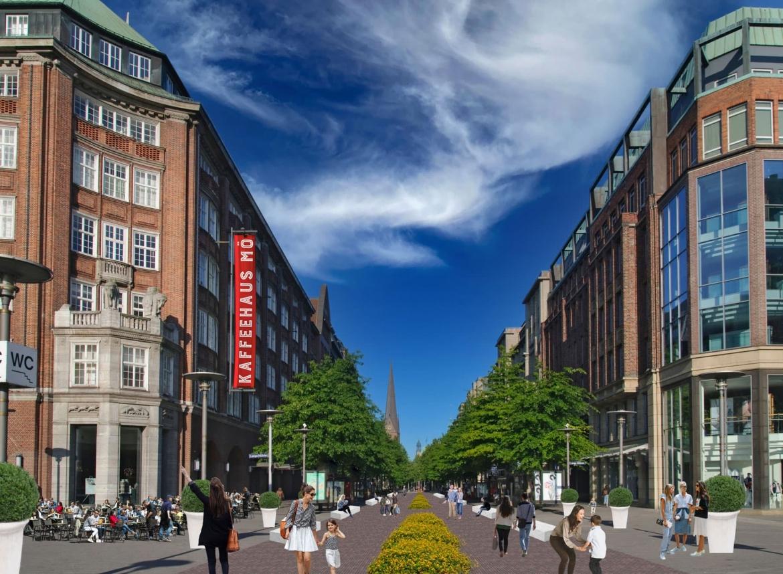 Begrünung der Mönckebergstraße Blickrichtung Westen